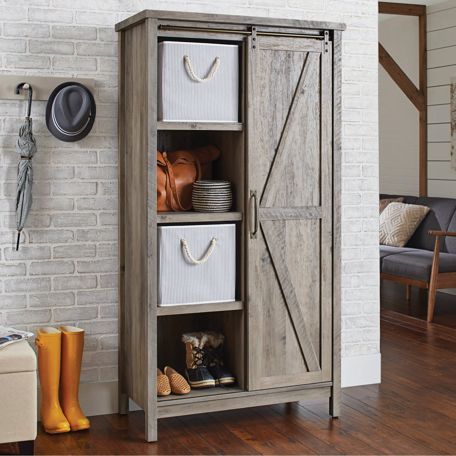 better homes gardens modern farmhouse storage bookcase cabinet and accent table rustic gray finish best home decor ping websites garden big lots end tables bar pub set high lack