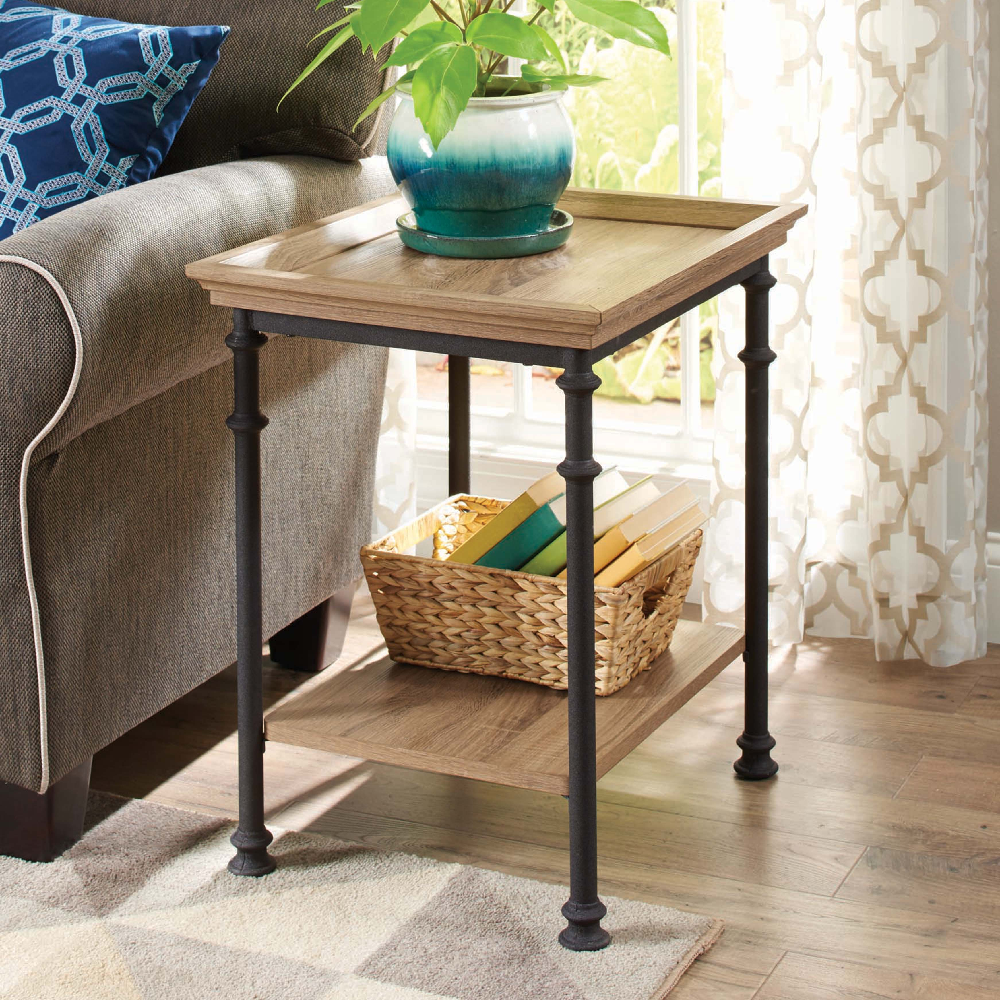 better homes gardens river crest side table rustic oak finish room essentials mixed material accent teak rocking chairs door console cabinet country tablecloths black patio end