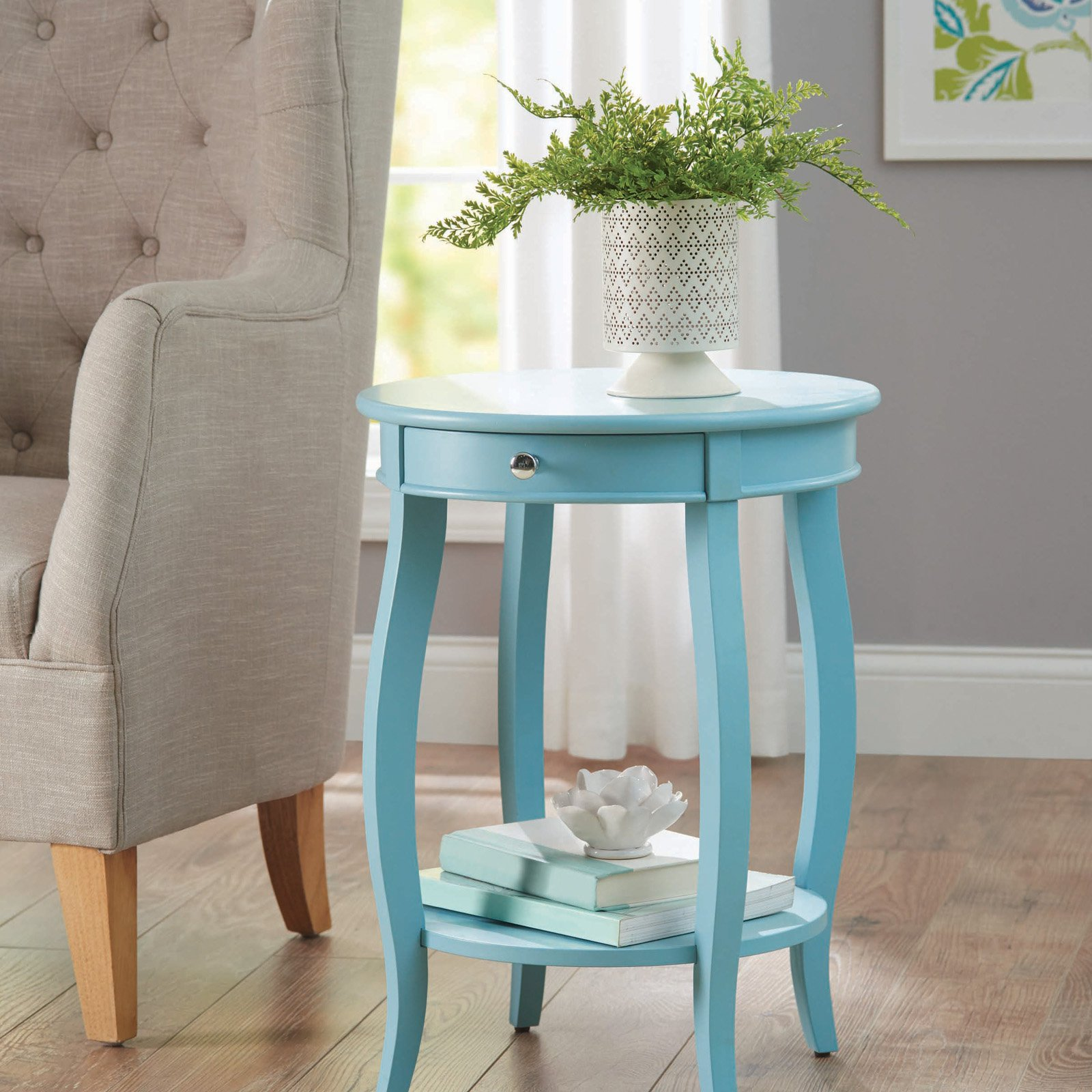 better homes gardens round accent table with drawer multiple aqua blue colors chairs for living room lamps tiffany butterfly lamp original floor threshold transitions bright
