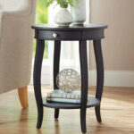 better homes gardens round accent table with drawer multiple iron colors black oval coffee timber trestle legs kmart kids deck nautical chandelier shades wood and metal side large 150x150