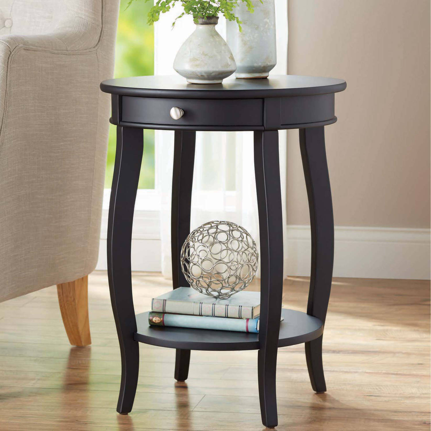 better homes gardens round accent table with drawer multiple iron colors black oval coffee timber trestle legs kmart kids deck nautical chandelier shades wood and metal side large