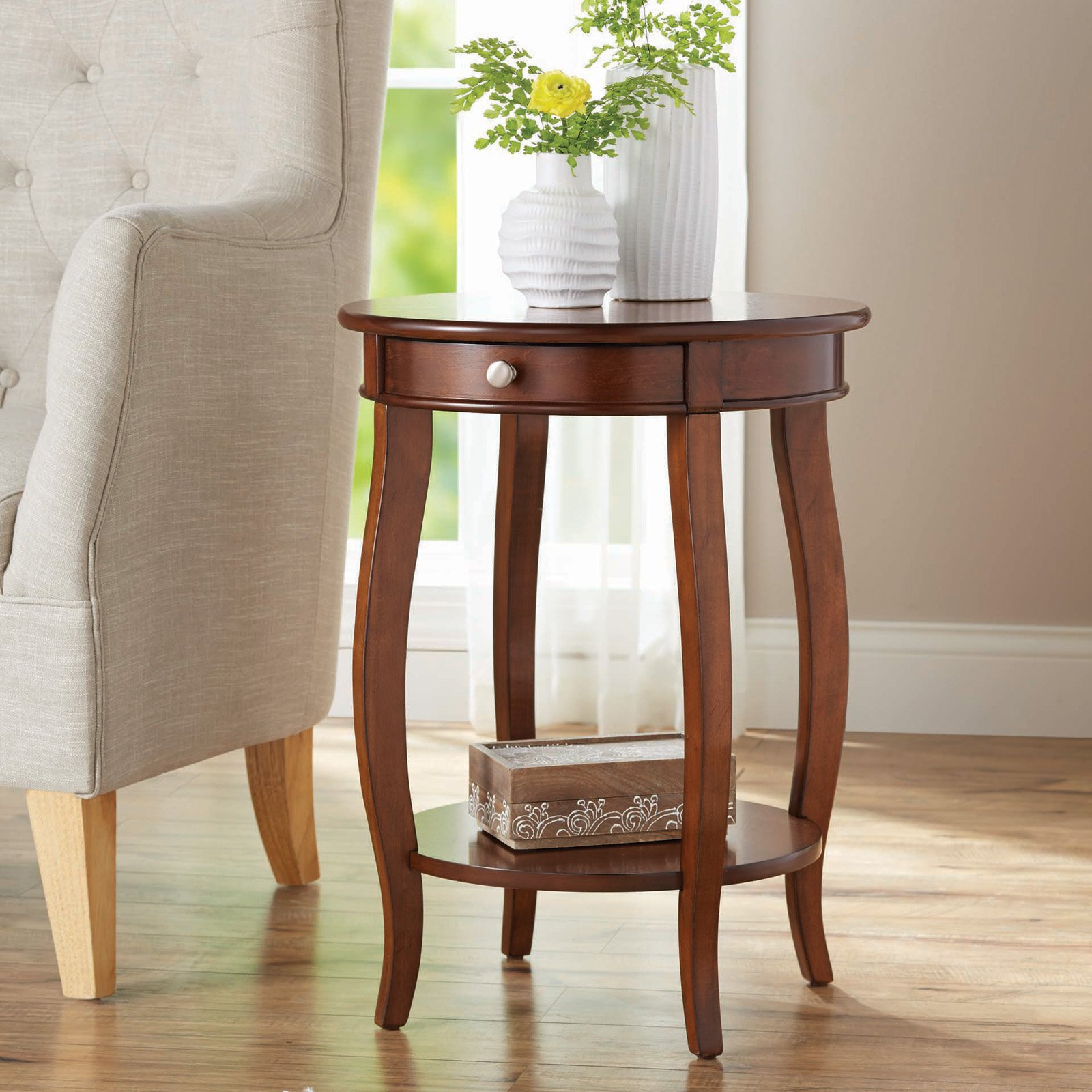 better homes gardens round accent table with drawer multiple room essentials metal patio colors west elm mid century bedside antique oak tables cherry wood dining small teak side