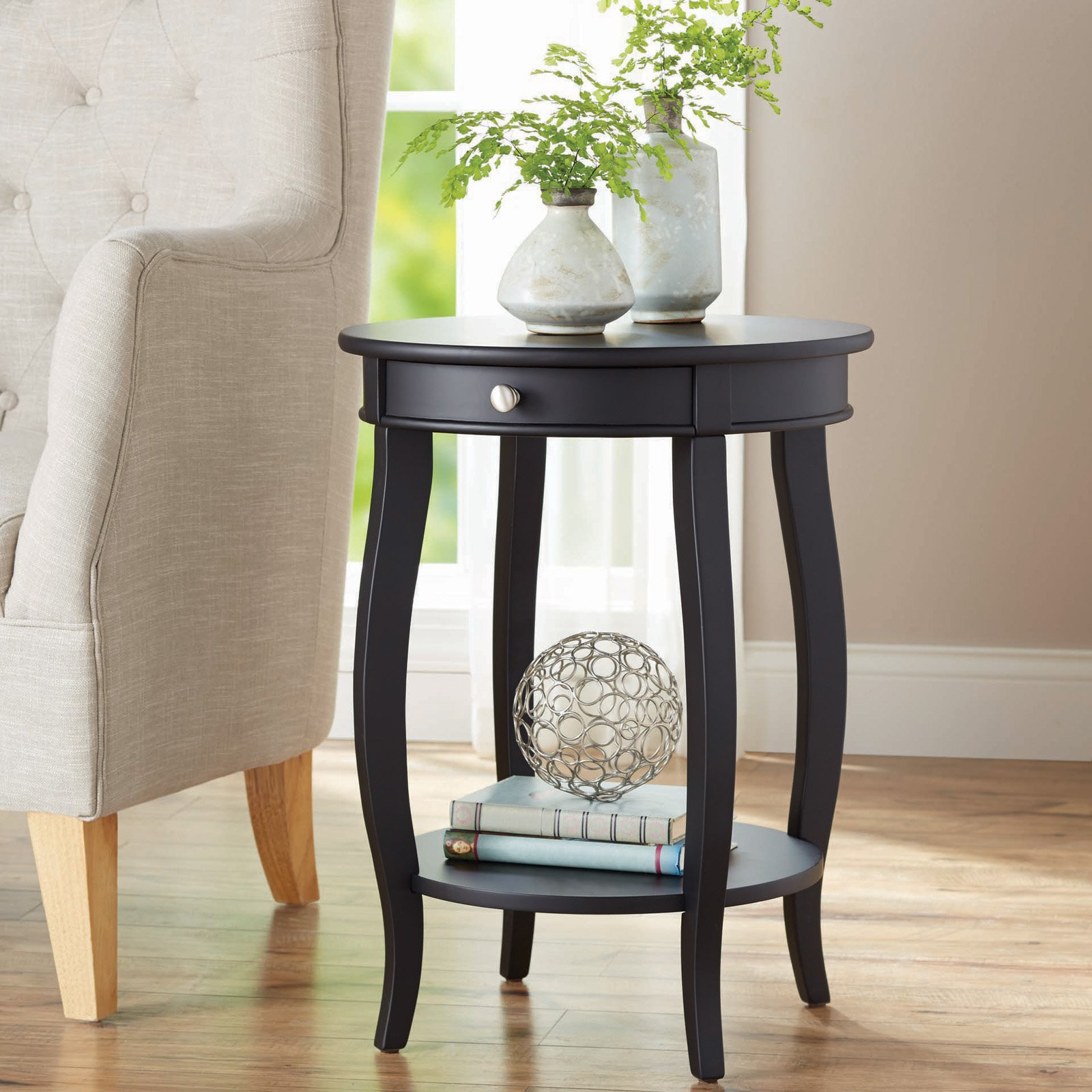 better homes gardens round accent table with drawer multiple storage black room essentials colors cherry wood dining furniture ceramic door knobs skinny console ikea pottery barn