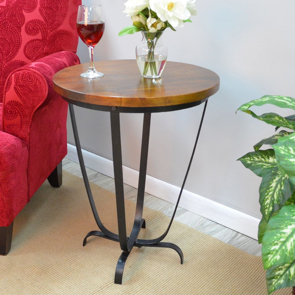 beyond the occasional basics with burton accent table this chestnut round features curio display cabinet wrought iron wine rack mosaic tile bistro entryway furniture ideas tiffany