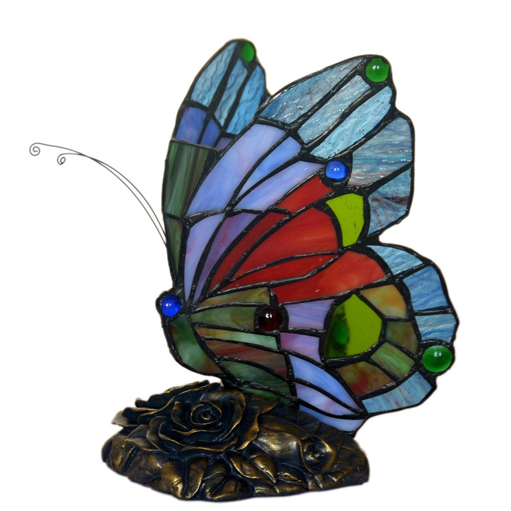bieye inch butterfly tiffany style stained glass accent table lamp multi colored decorative wine rack reading chair for bedroom target patio retro chairs bar furniture bedside