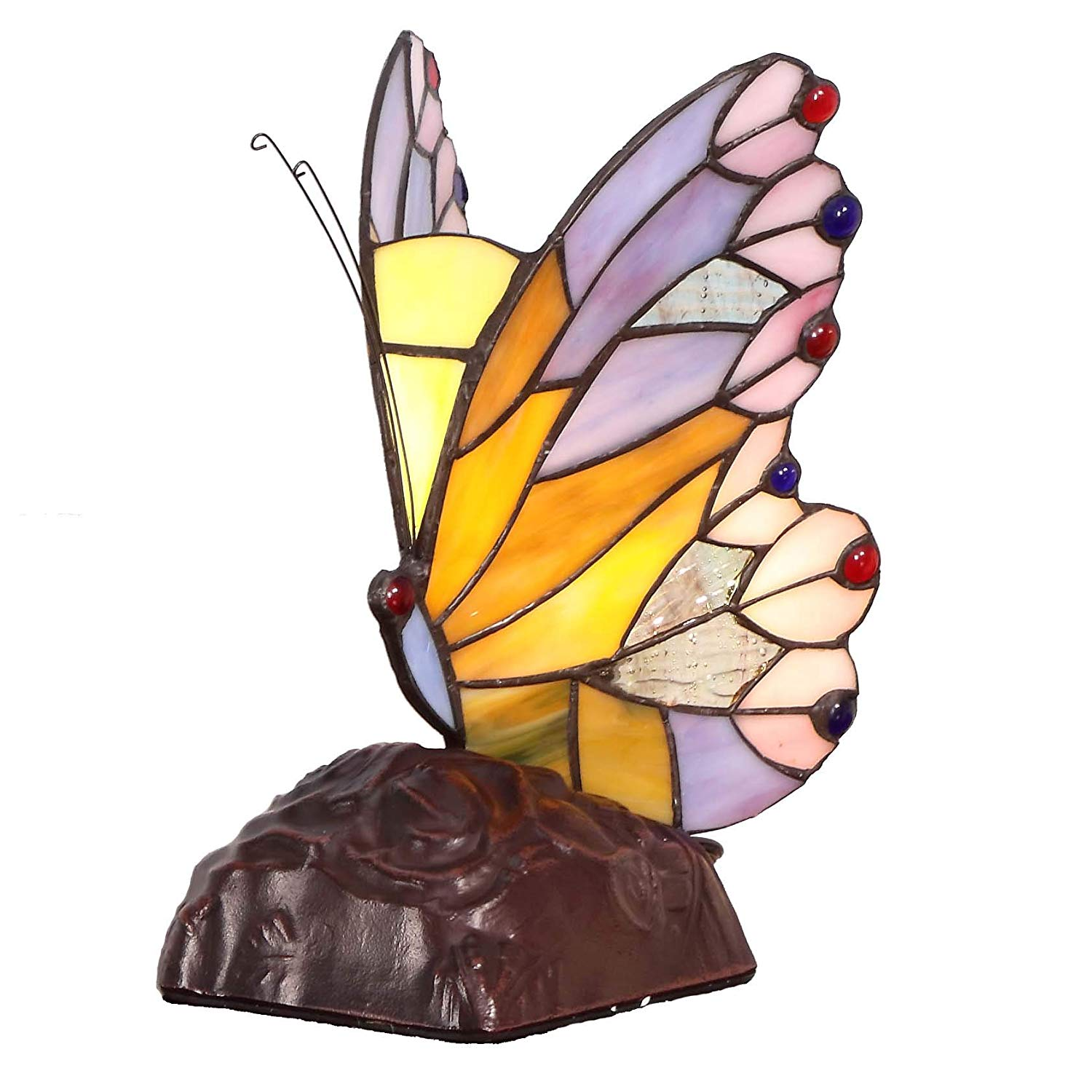 bieye inch butterfly tiffany style stained glass accent table lamp round tables for living room bronze coffee shabby chic shelves wine colored tablecloth nautical pendant lights