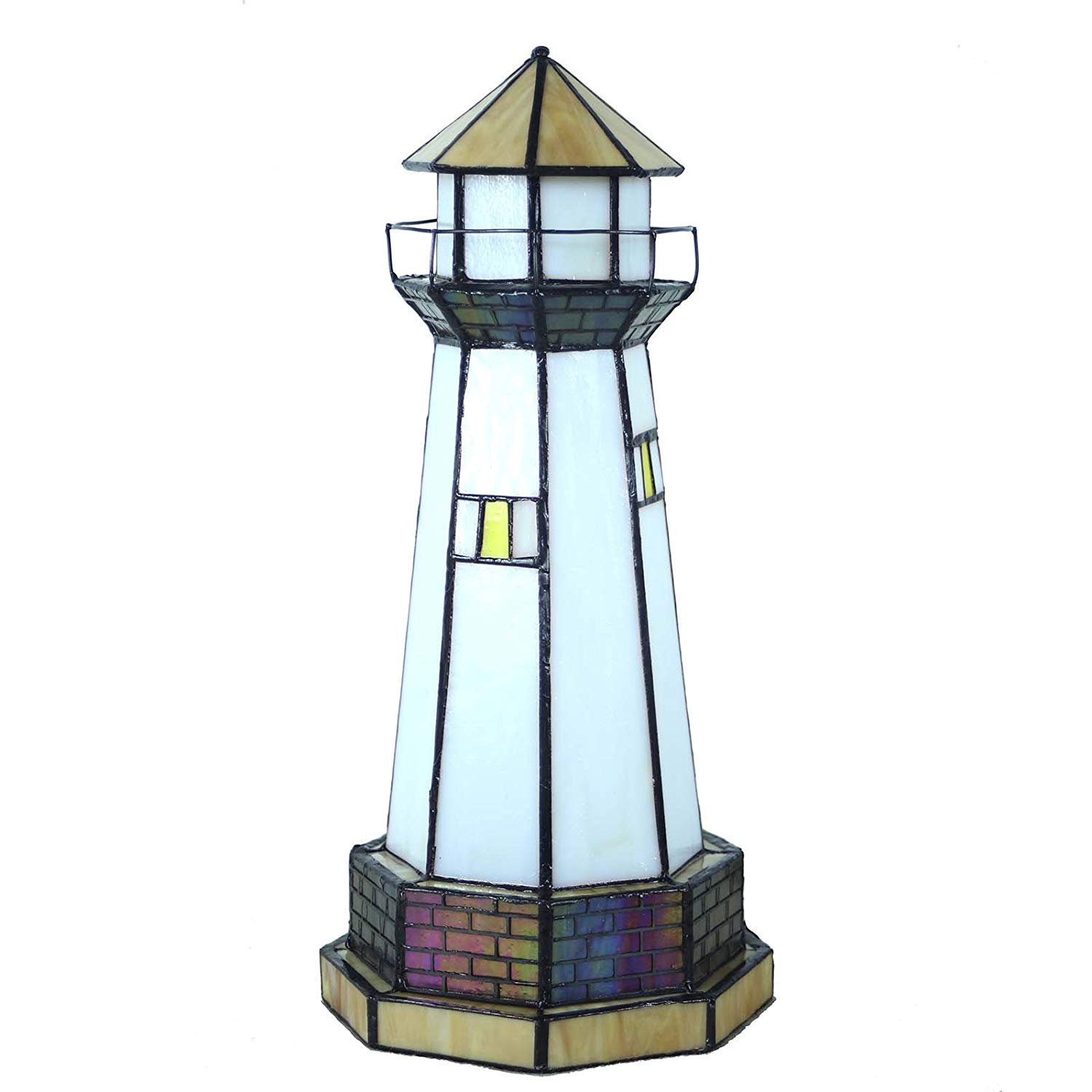 bieye inch lighthouse tiffany style stained glass accent table lamp night light tulip oval garden furniture covers teal kitchen decor nautical pendant lights for island outdoor