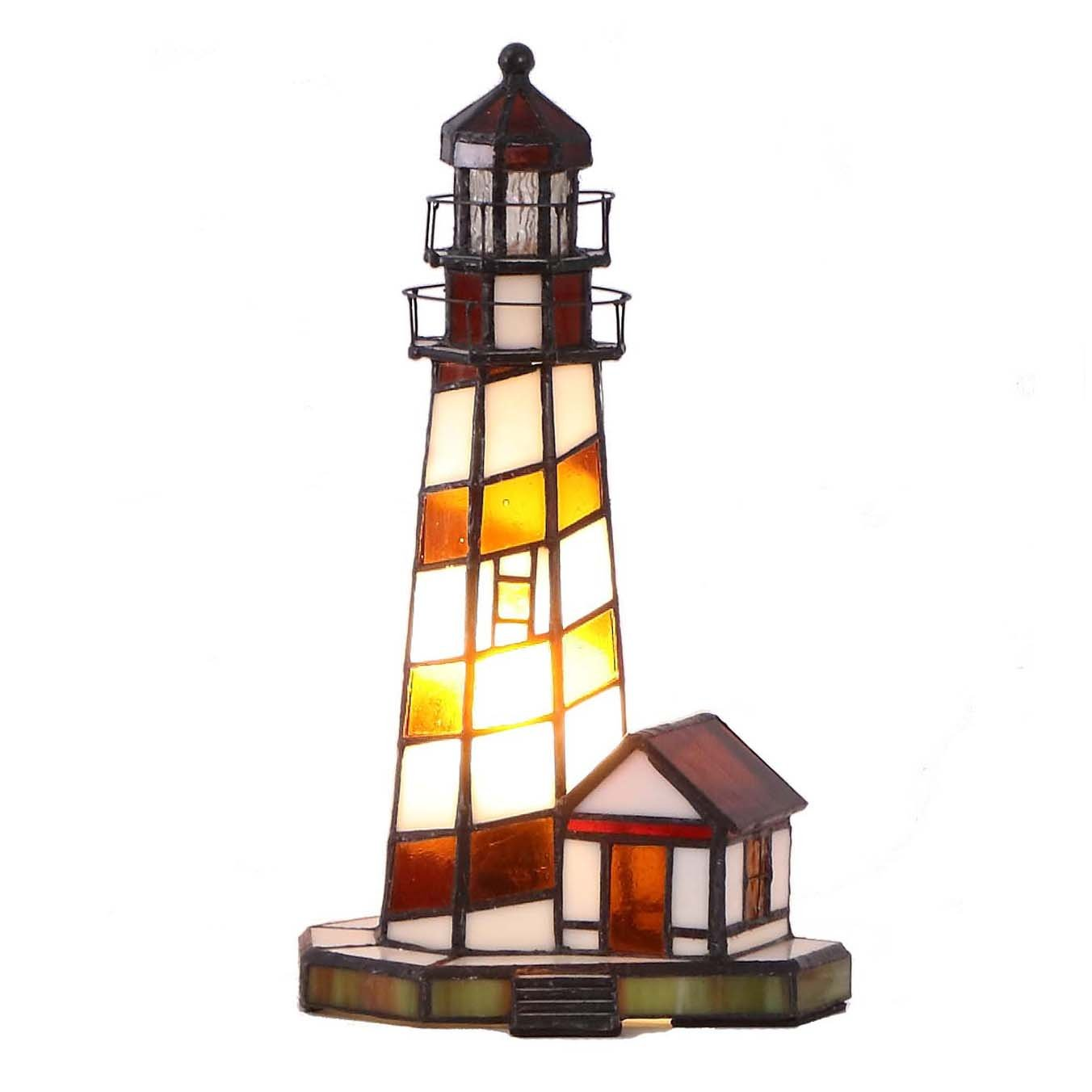 bieye inch lighthouse tiffany style stained glass accent table lamps lamp night light pottery barn black coffee pin legs metal and sofa dining set with bench mosaic kitchen patio
