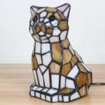 bieye inch lovely cat kitten tiffany style stained glass accent table lamp night light wood end with top oval garden furniture covers tall side drawers tory burch pearl necklace 150x150