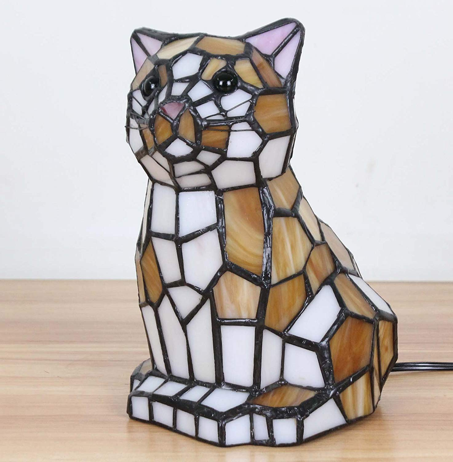 bieye inch lovely cat kitten tiffany style stained glass accent table lamp night light wood end with top oval garden furniture covers tall side drawers tory burch pearl necklace