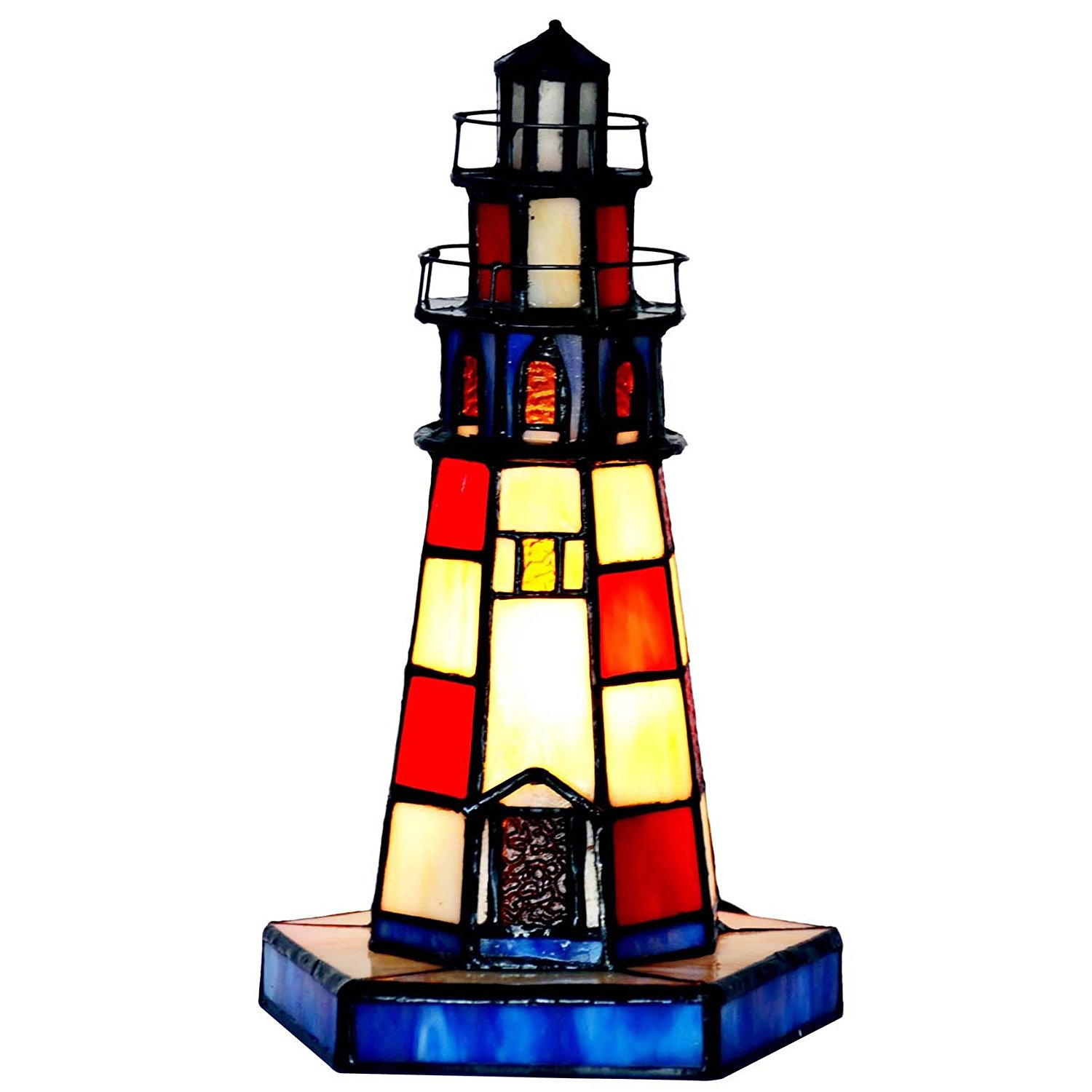 bieye inches lighthouse tiffany style stained glass accent table lamp west elm square dining skinny side antique oak small home decor accessories outdoor wood patio furniture
