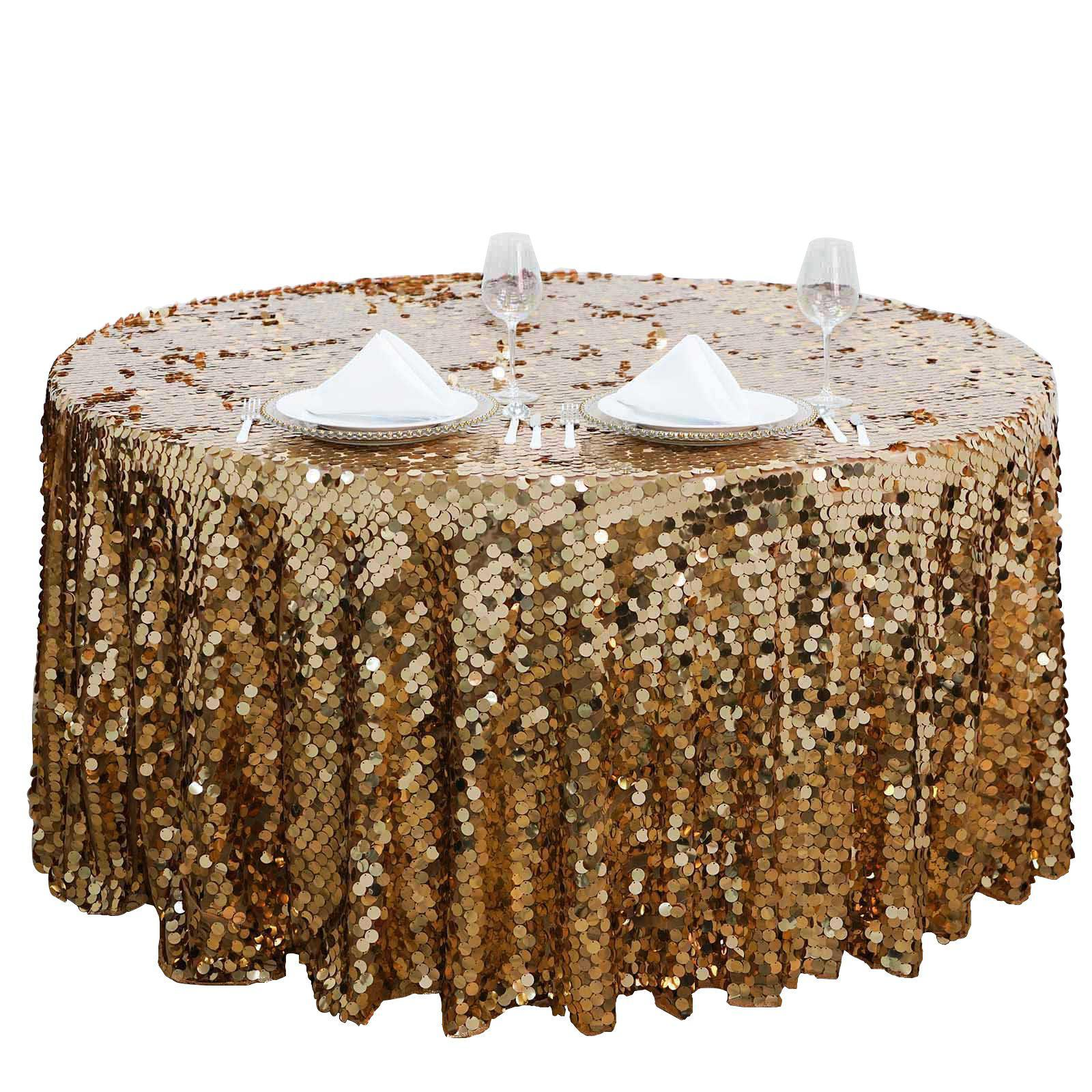big payette gold sequin round tablecloth premium collection tab accent table long narrow behind couch wedding gift list ideas outdoor deck furniture small wooden coffee with