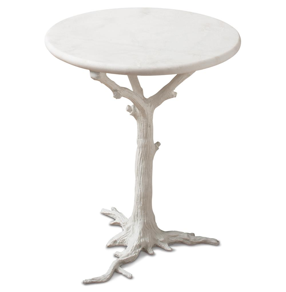 bijou global bazaar white tree branch iron marble round accent end table product tables kathy kuo home entryway mirror skirts coffee and set worlds away narrow target kids desk