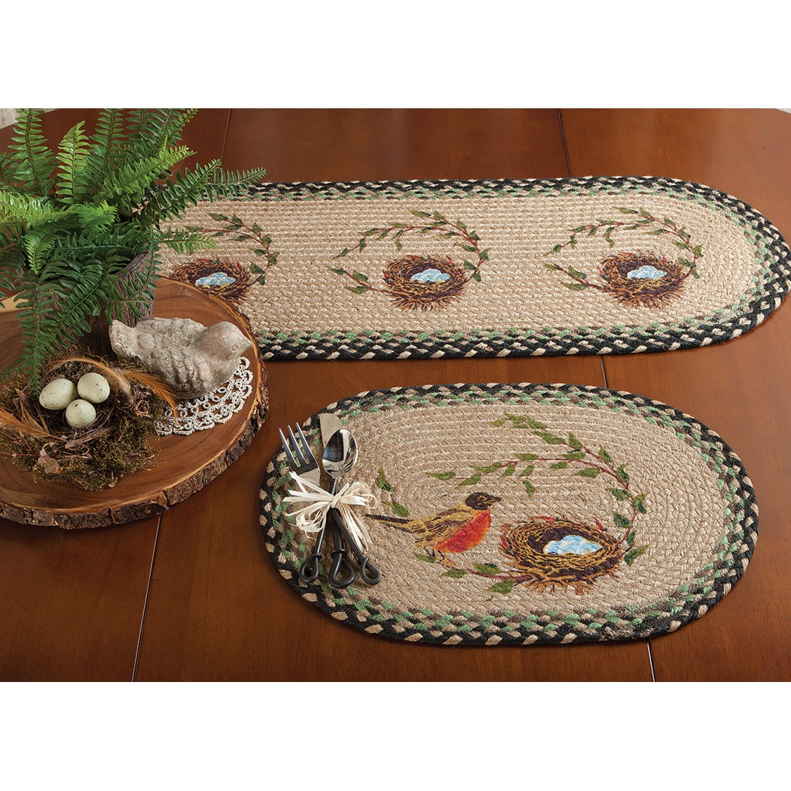 bird nest jute braided tabletop accents table accent placemat cast aluminum side mid century small ethan allen leather furniture metal floor reducer folding ikea square mirrored