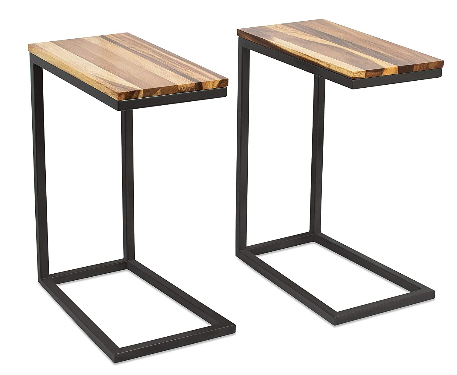 birdrock home acacia wood tray side table set room essentials hairpin accent walnut industrial design natural sofa snack end kitchen dining rustic unstained furniture modern