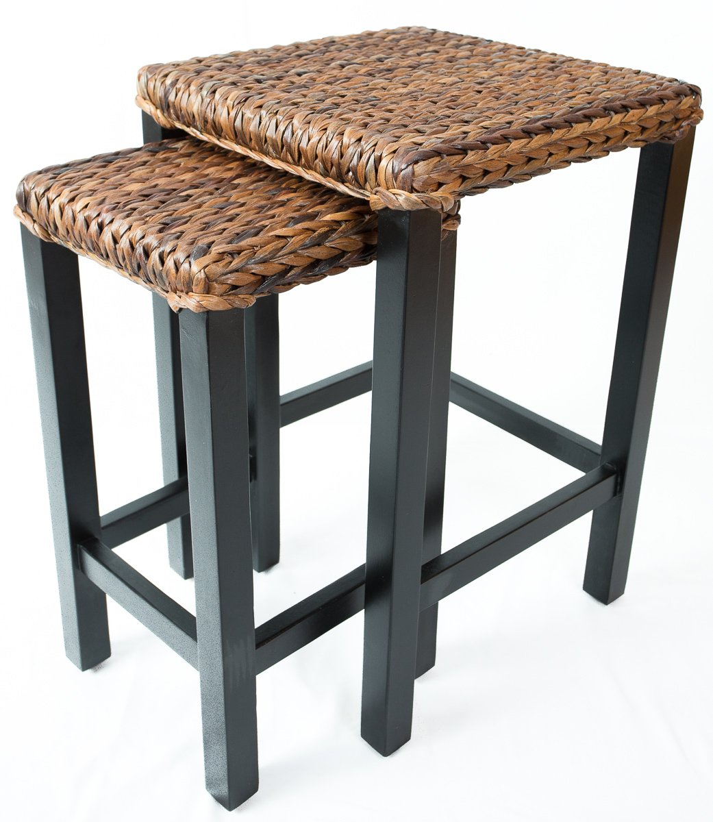 birdrock home seagrass nesting accent tables hand antique small woven fully assembled kitchen dining wood end table with glass top ashley furniture retro cabinet foyer console