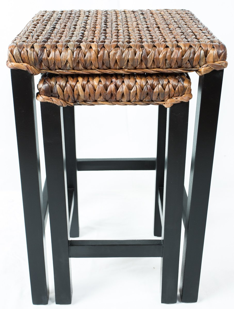 birdrock home seagrass nesting accent tables hand woven metal table fully assembled kitchen dining bunnings outdoor furniture cover diy patio cooler end with glass door reclaimed
