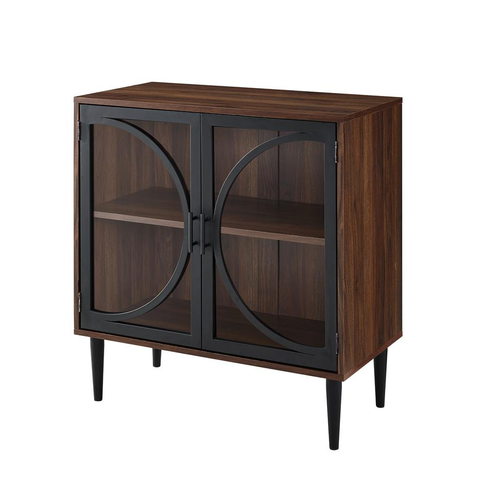 bisonoffice industrial chic accent cabinet with tempered glass table doors dark walnut triangle ikea nautical rope end basket chestnut furniture turquoise cocktail tables and