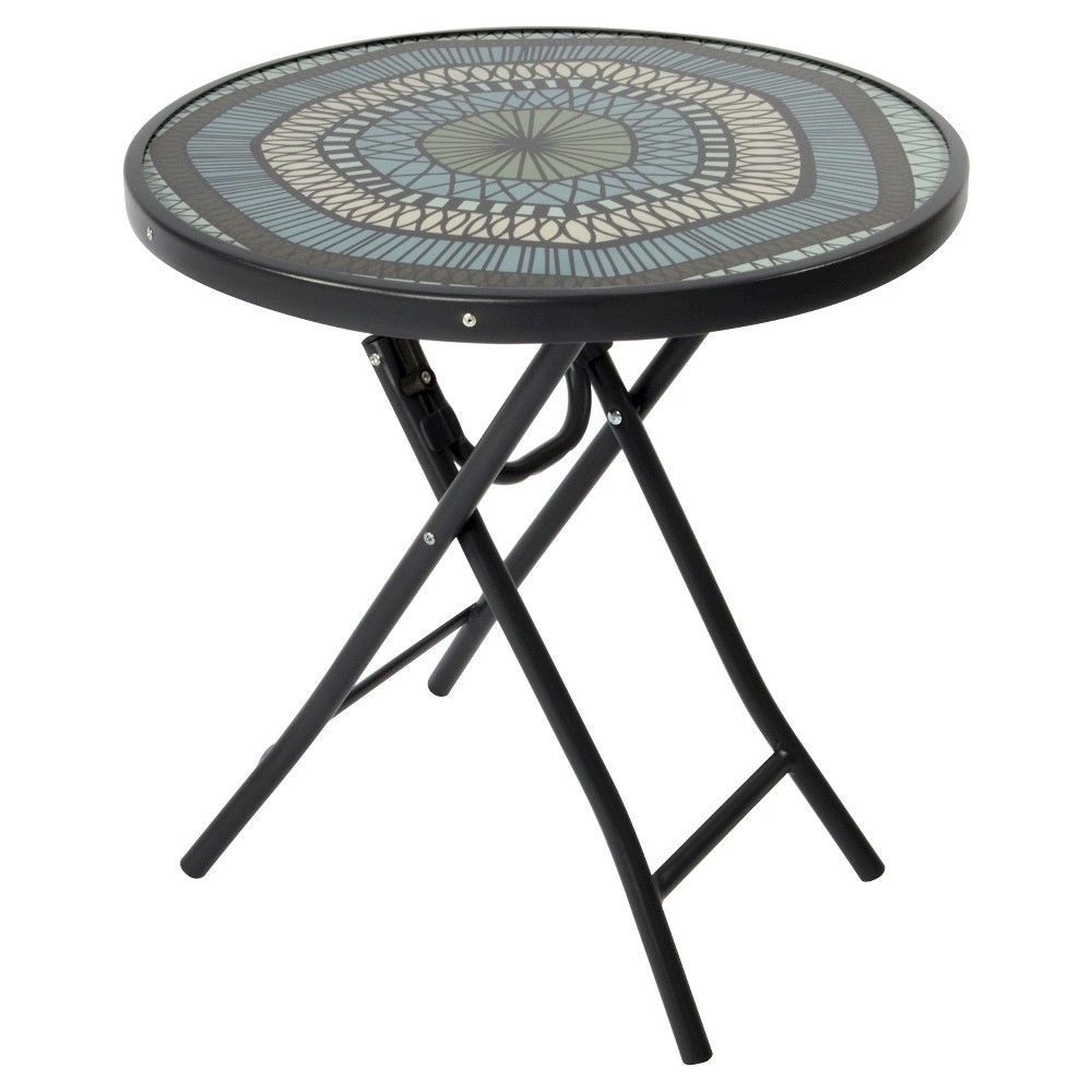 bistro round folding accent table medallion room essentialsa essentials metal patio mosaic tile outdoor side home goods runners backyard gazebo keter beer cooler antique oak