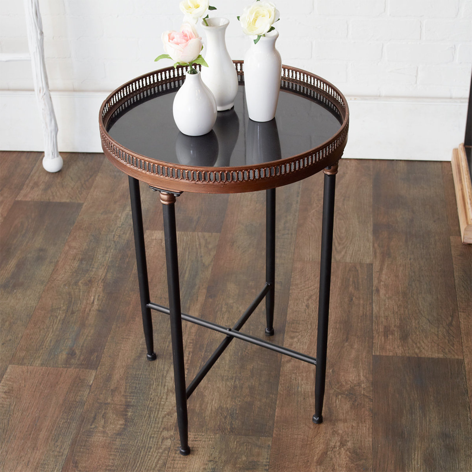 black and gold round accent table shades light pottery barn metal side antique brass mirror chair pads target modern tablecloth drum coffee with drawers unfinished top imitation