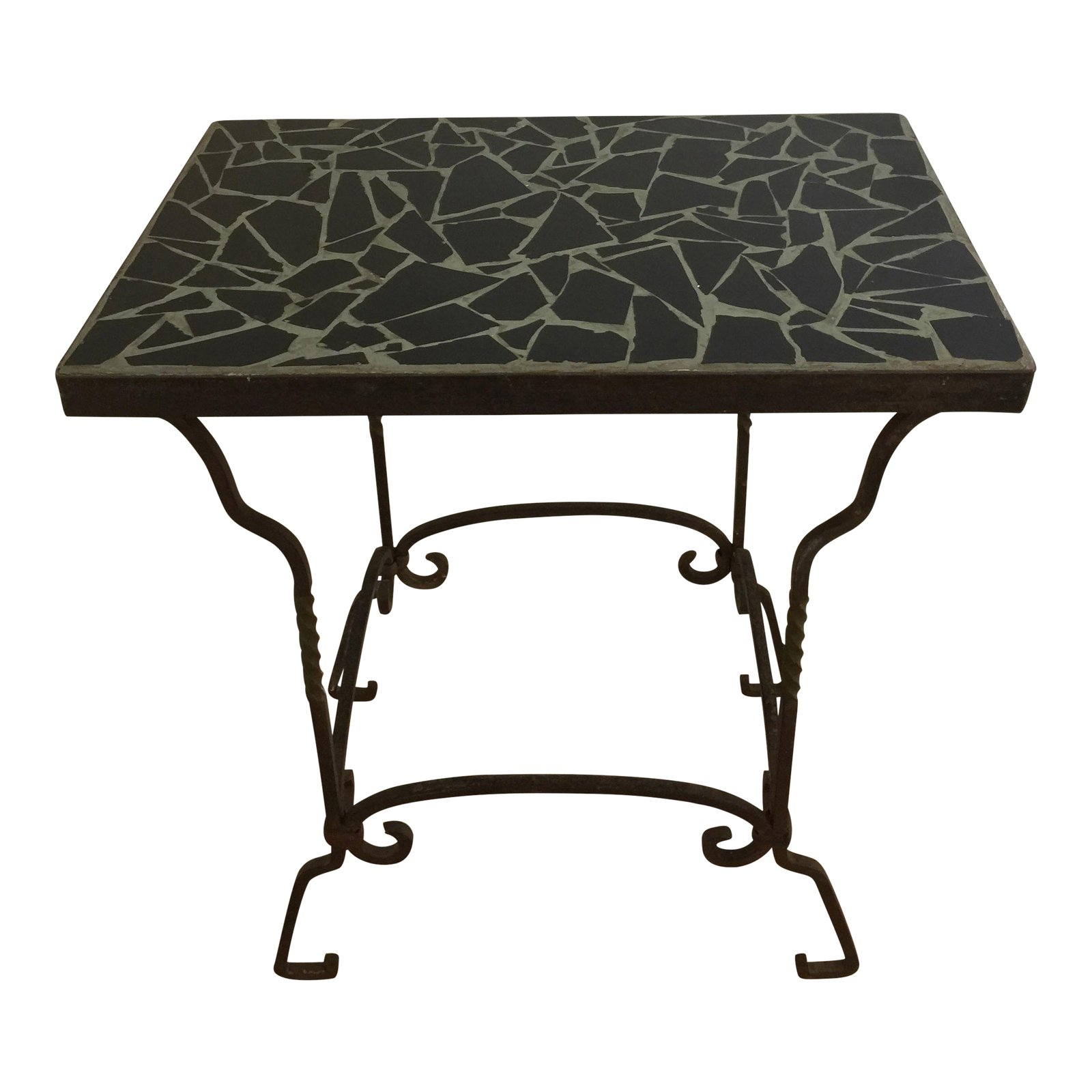 black cracked mosaic tile top iron side table chairish outdoor accent west elm marble console dresser drawer pulls metal drum storage tall bistro laminate flooring doorway