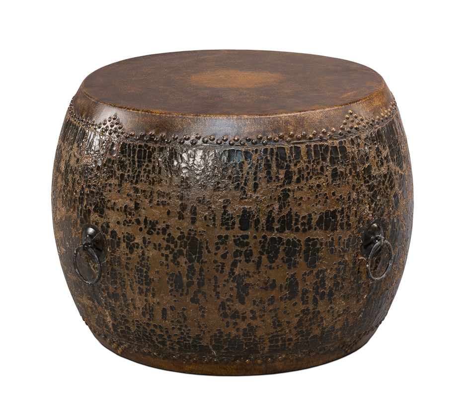black drum coffee table zef jam accent side sarreid ltd portal your source for the dark blue temple jar lamps destination lighting rustic pine end animal lamp pallet trestle