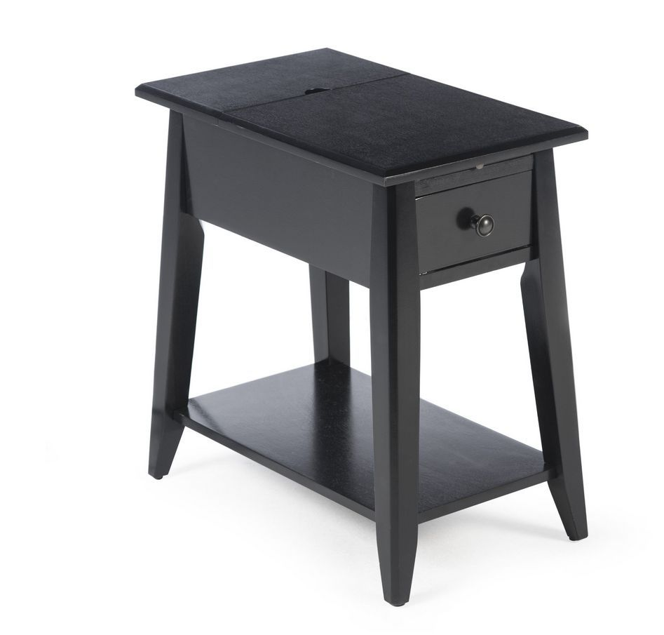 black end table with usb ports and power accent port stay connected this sleek charging station leg nightstand low round glass cube side hardwood garden furniture aico outdoor