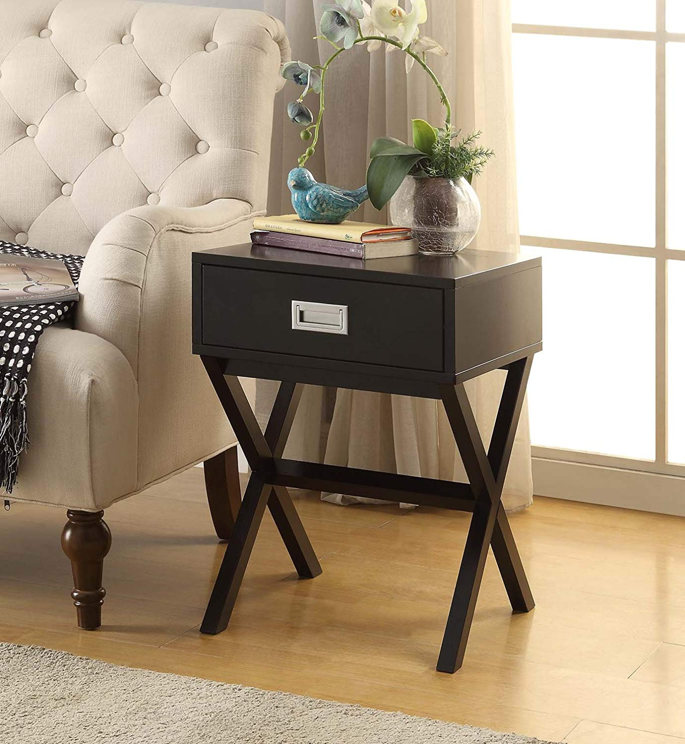 black finish modern shape accent side end table eryn nighstand with drawer kitchen dining high gloss rustic barnwood tables walnut nest ashley furniture sofa sets wrought iron