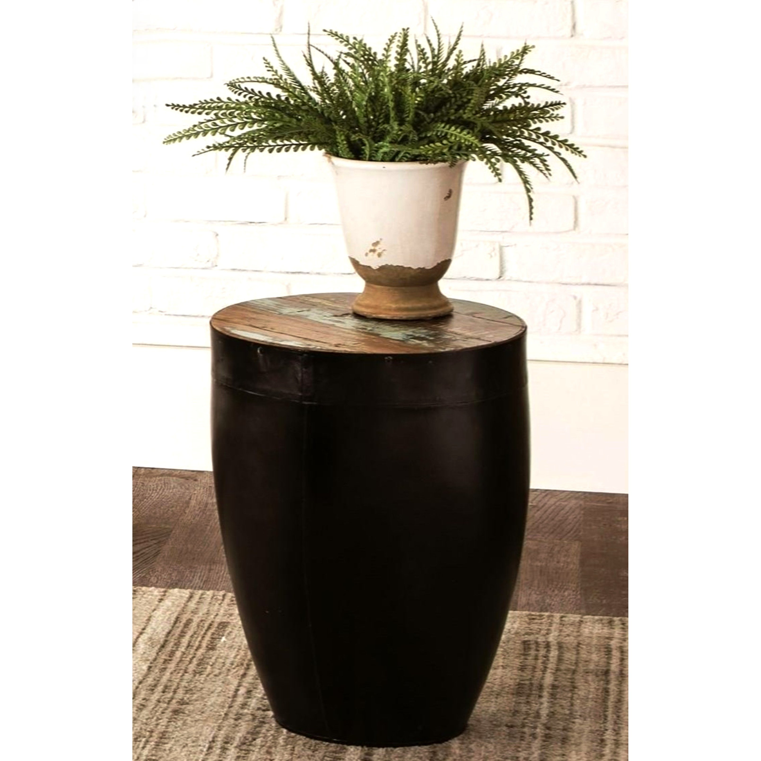 black iron drum shaped accent side table with natural reclaimed wood top free shipping today tables edmonton slim storage unit ikea nate berkus bath rug nightstand bedside ott