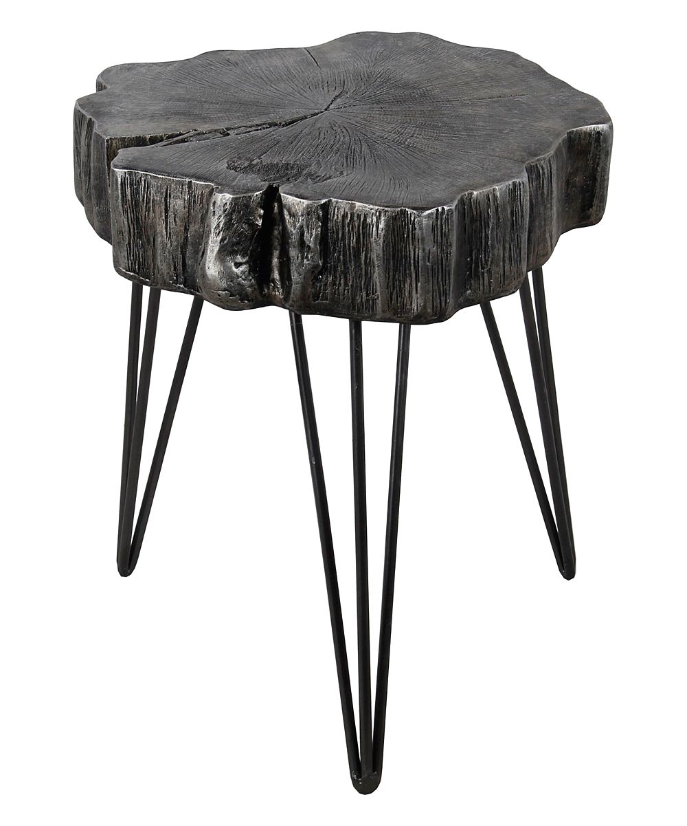 black iron tree slab side table products woods wood accent battery operated lamp patio chairs round folding target linen cloth pier one outdoor umbrellas center design half moon