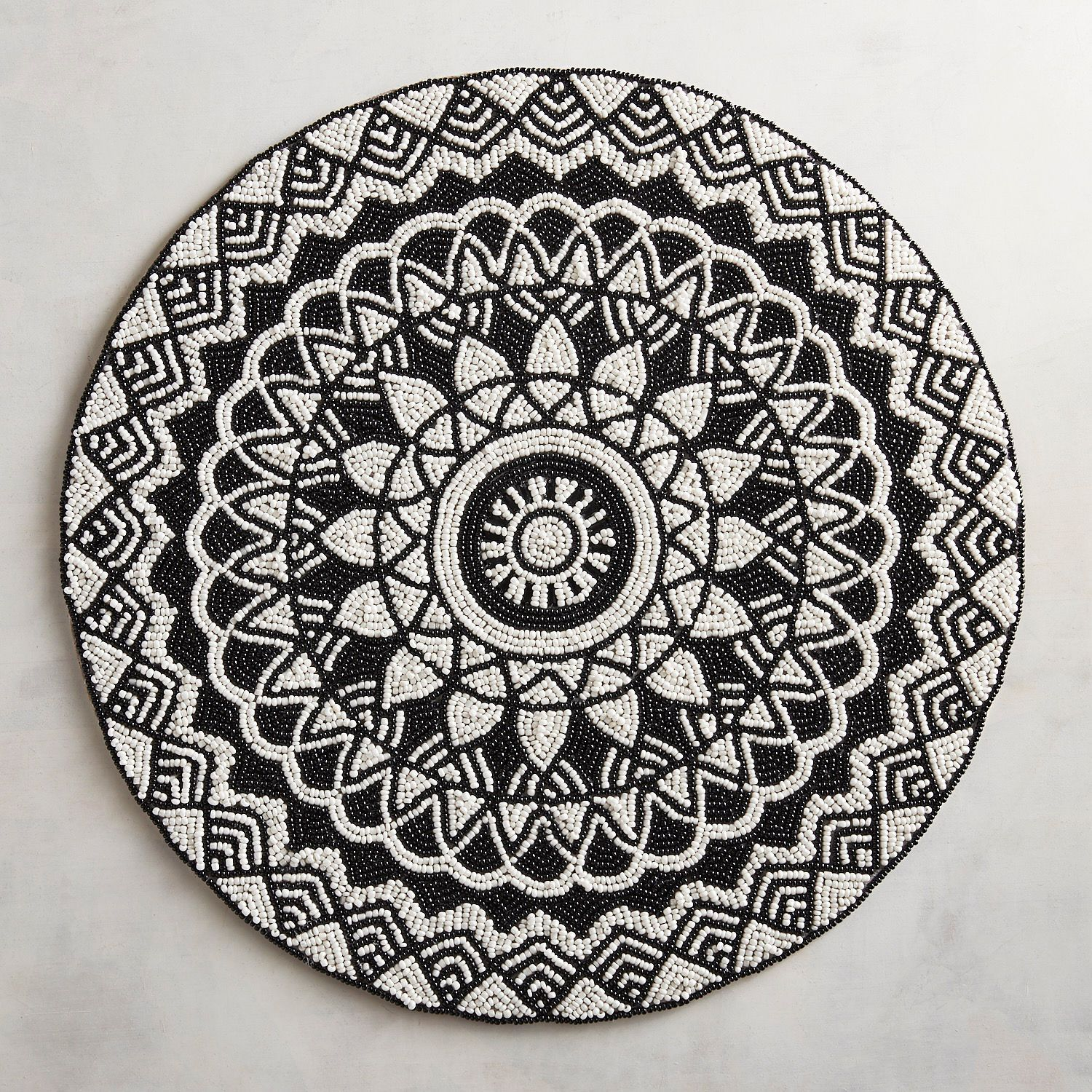 black ivory medallion placemat table linens accent modern moroccan pier imports high end coffee bathroom styles wicker lawn furniture eileen gray side round bedside iron glass