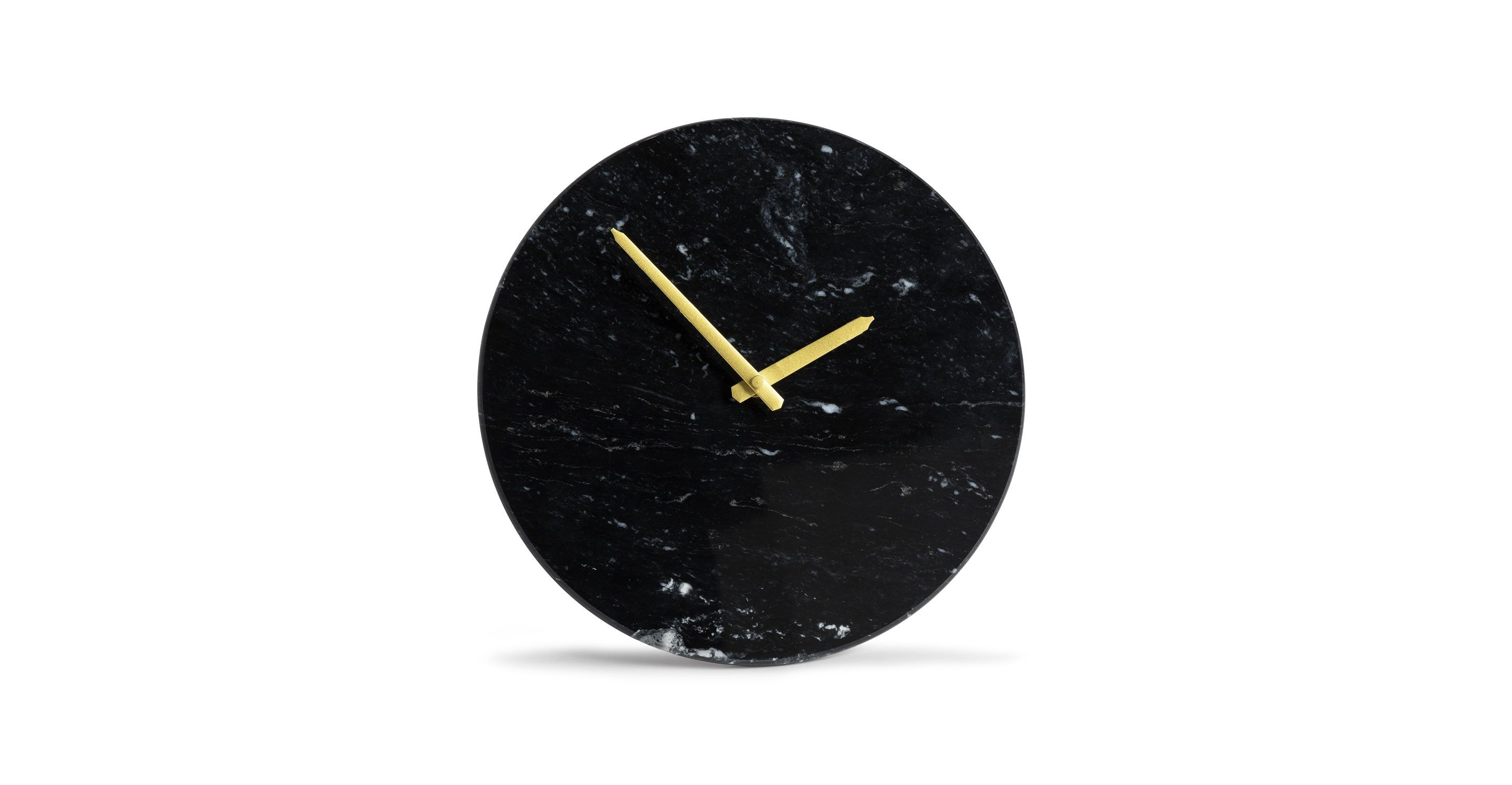 black marble wall clock gold hands article maris contemporary signy drum accent table with top small iron garden west elm urban sectional pulaski furniture reviews chairside end