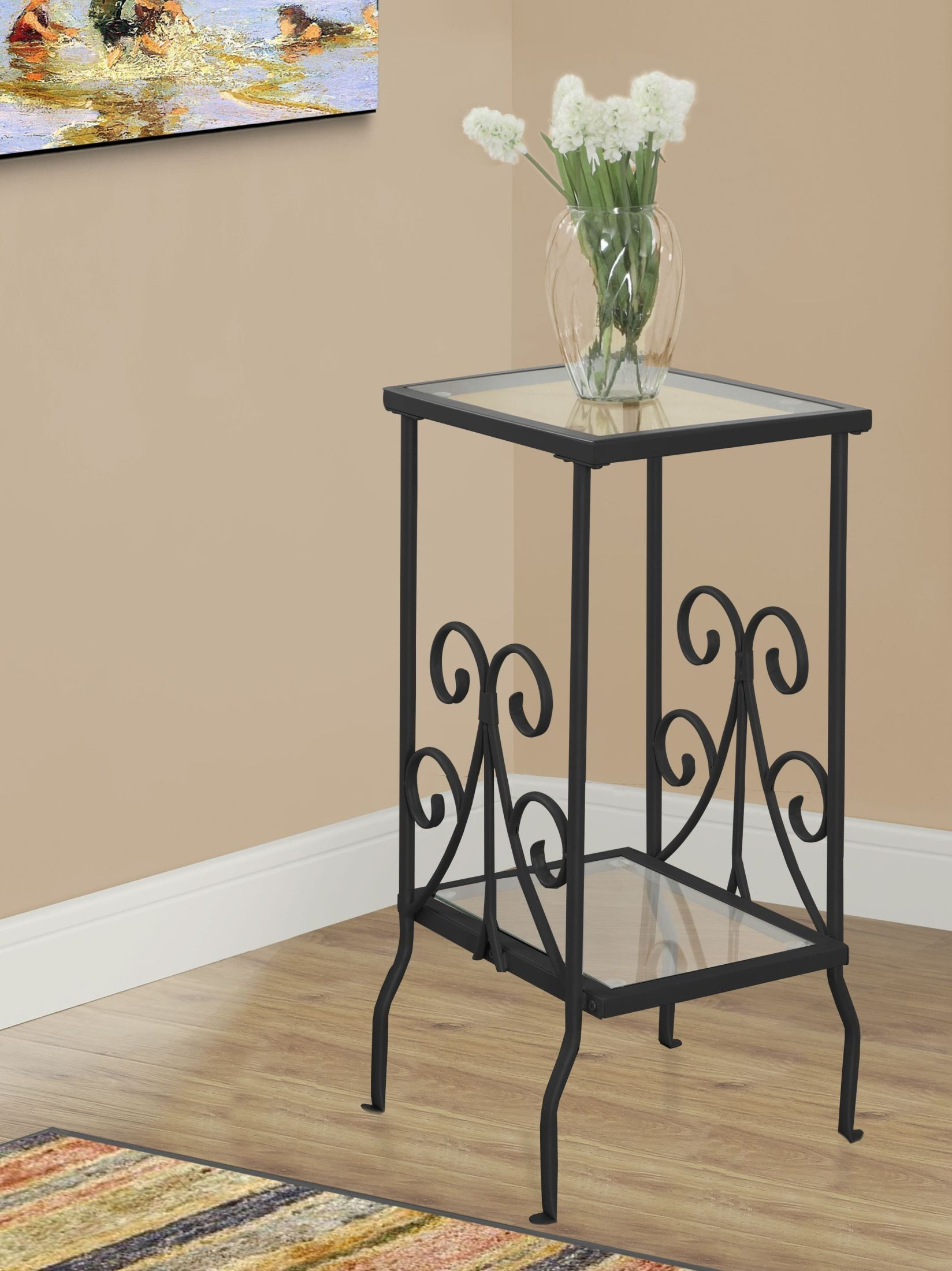 black metal and tempered glass accent table monarch desk side ikea diy small wingback chair folding coffee vacuum bedroom furniture edmonton floral room essentials patio cherry