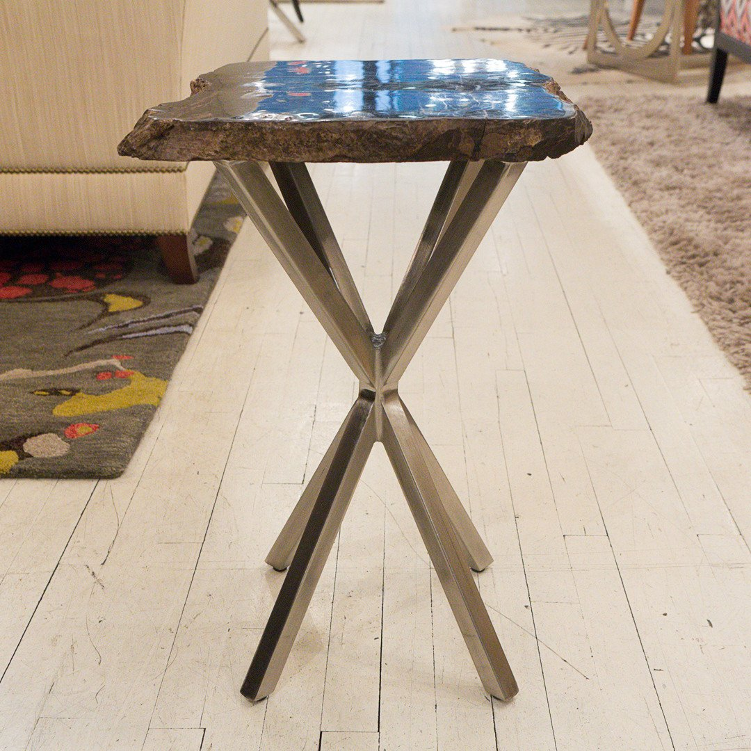 black petrified wood table bernhardt interiors luxe home accent wicker end tables with drawers side ideas for living room white and brown percussion stool mudroom furniture