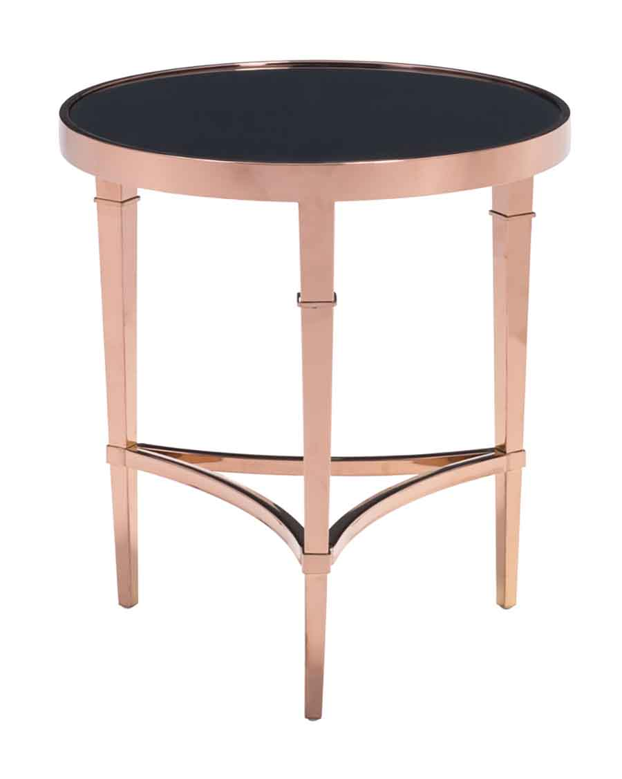 black round glass top rose gold metal side table zuo drawer homepop accent antique small couch end tables west elm brass lamp wooden bedside lamps kijiji bedroom set walnut ikea