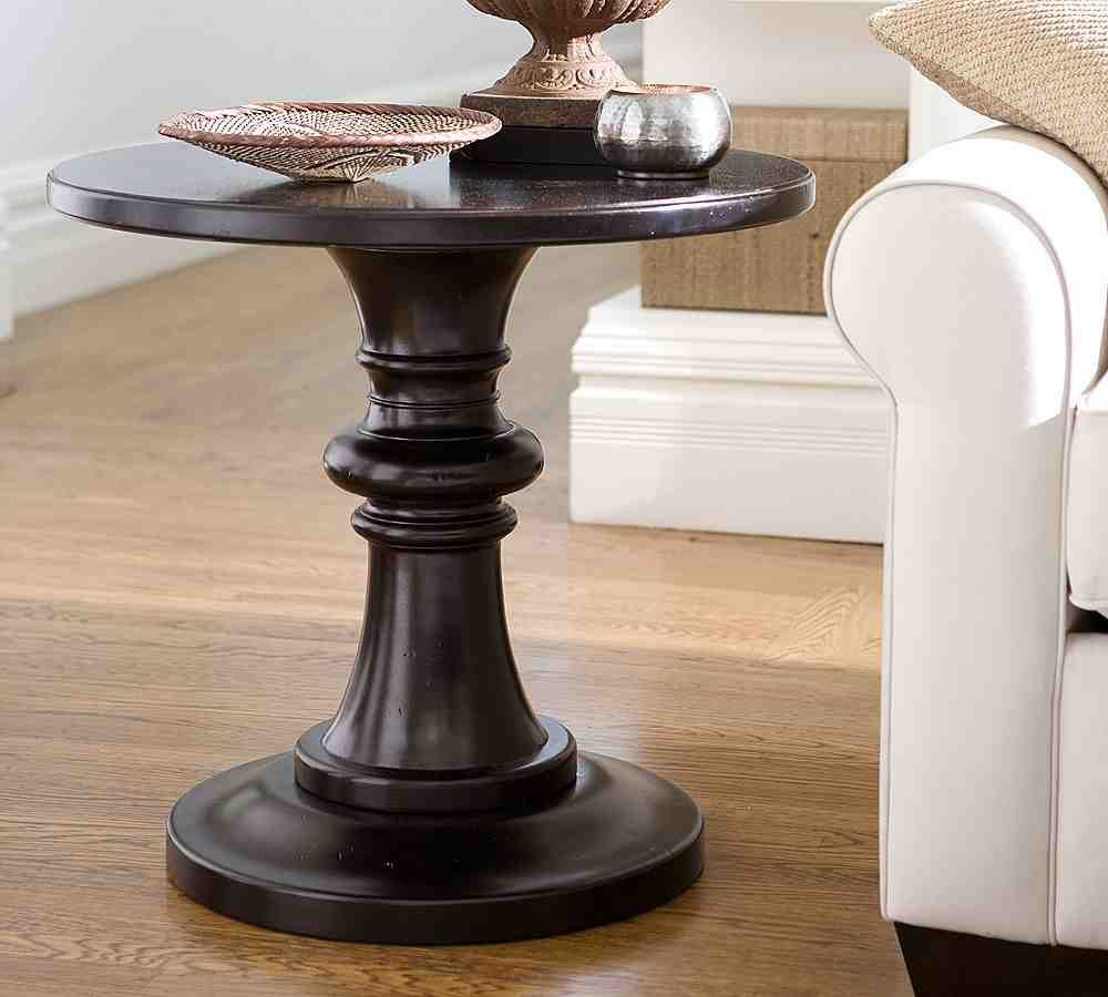 black round pedestal end table home sweet pottery accent concrete base living room decor fire target recliners mirrored cabinet barn door console with baskets turquoise furniture