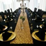 black table linens gold charger plates napkins pyramid fold round accent cloths sequin runner small floral vase large candelabra with peacock feathers ikea end tall narrow 150x150