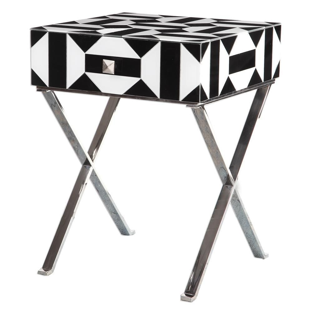 black white geometric accent table glass hardware and drawers pedestal plant stand indoor short nightstand vacuum ethan allen end tables used modern living room red decor danish