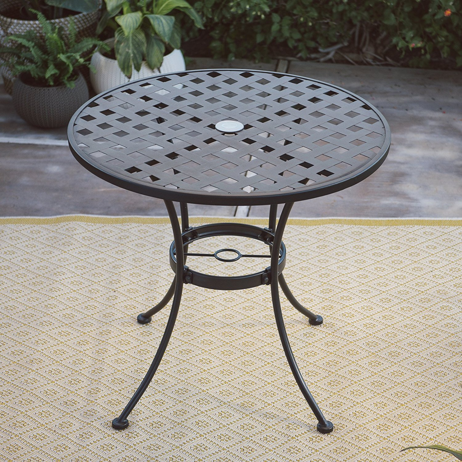 black wrought iron patio table find accent get quotations dining sturdy construction umbrella hole oval shape lightweight small corner bar height with leaf white night orange