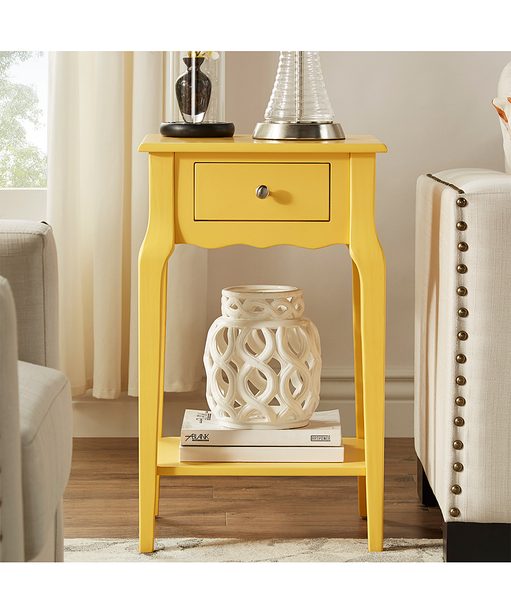 blaine collection yellow accent table zulily alt alternate white and grey side round bronze retro modern chairs dale tiffany crystal lamps gas grills resin wicker furniture room