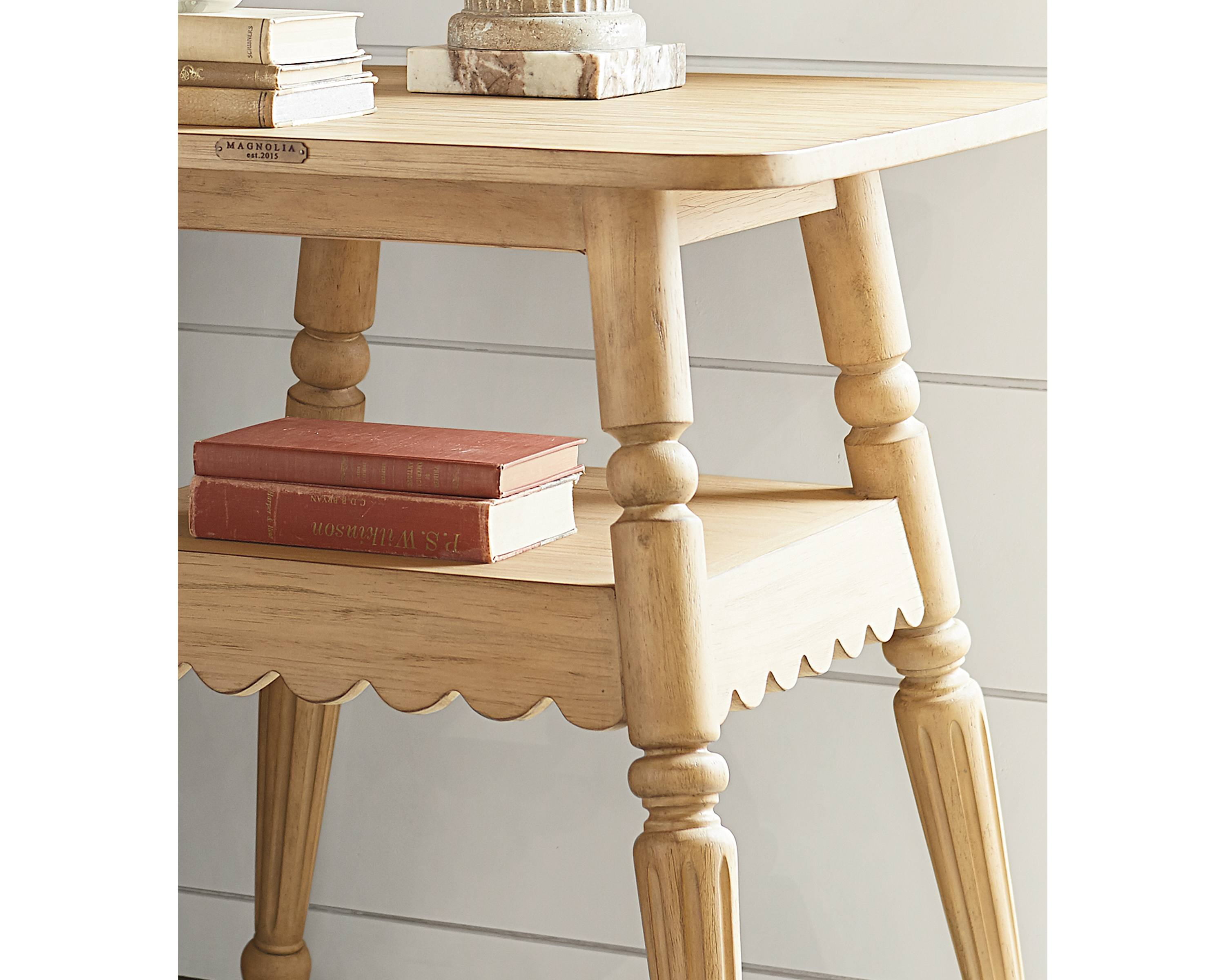 blithe accent table magnolia home frm detail corner for dining room our quaint wheat tastefully used end the living well bedside its smooth round corners and porcelain jar lamp