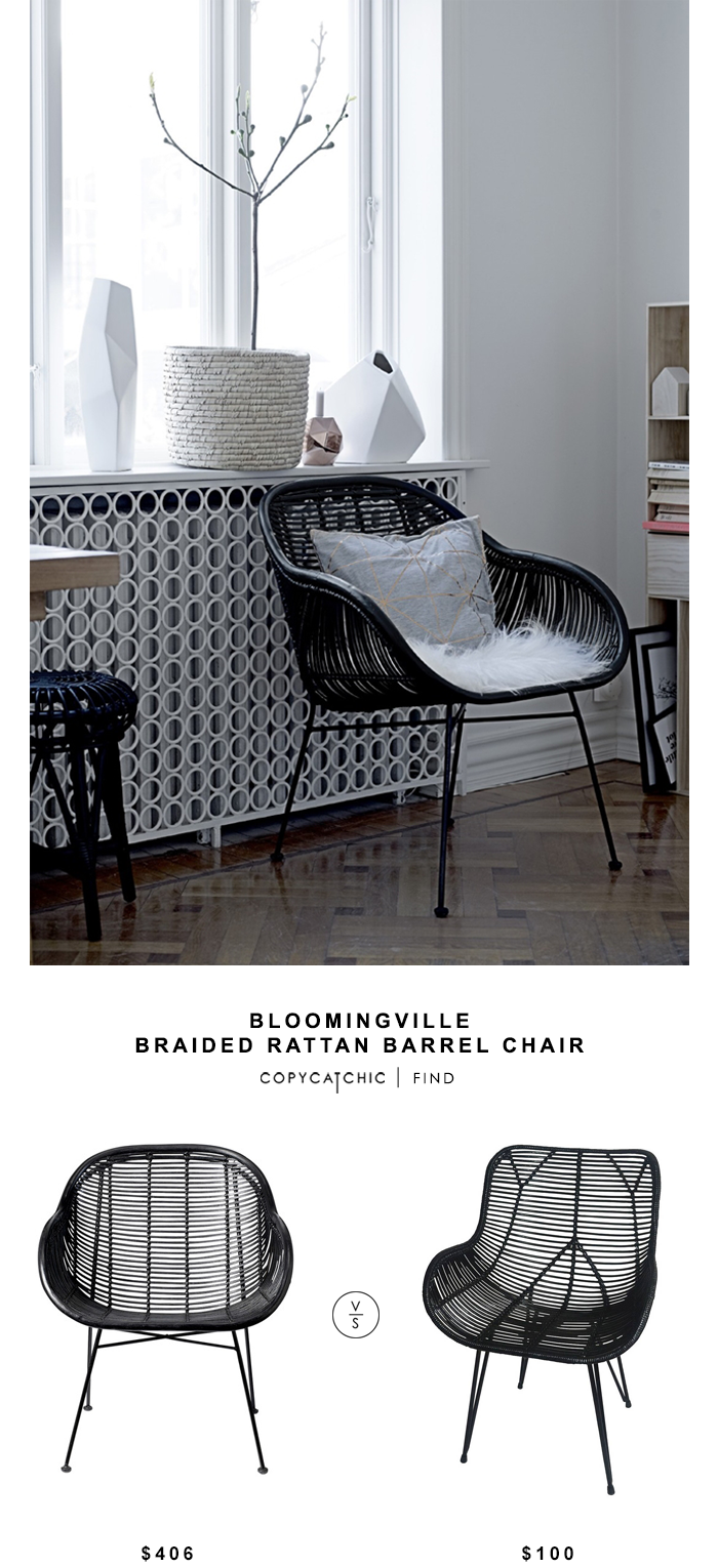 bloomingville braided rattan barrel chair copy cat chic park wicker accent table target metal dining room chairs side patio pier one coby tripod floor lamp wooden furniture