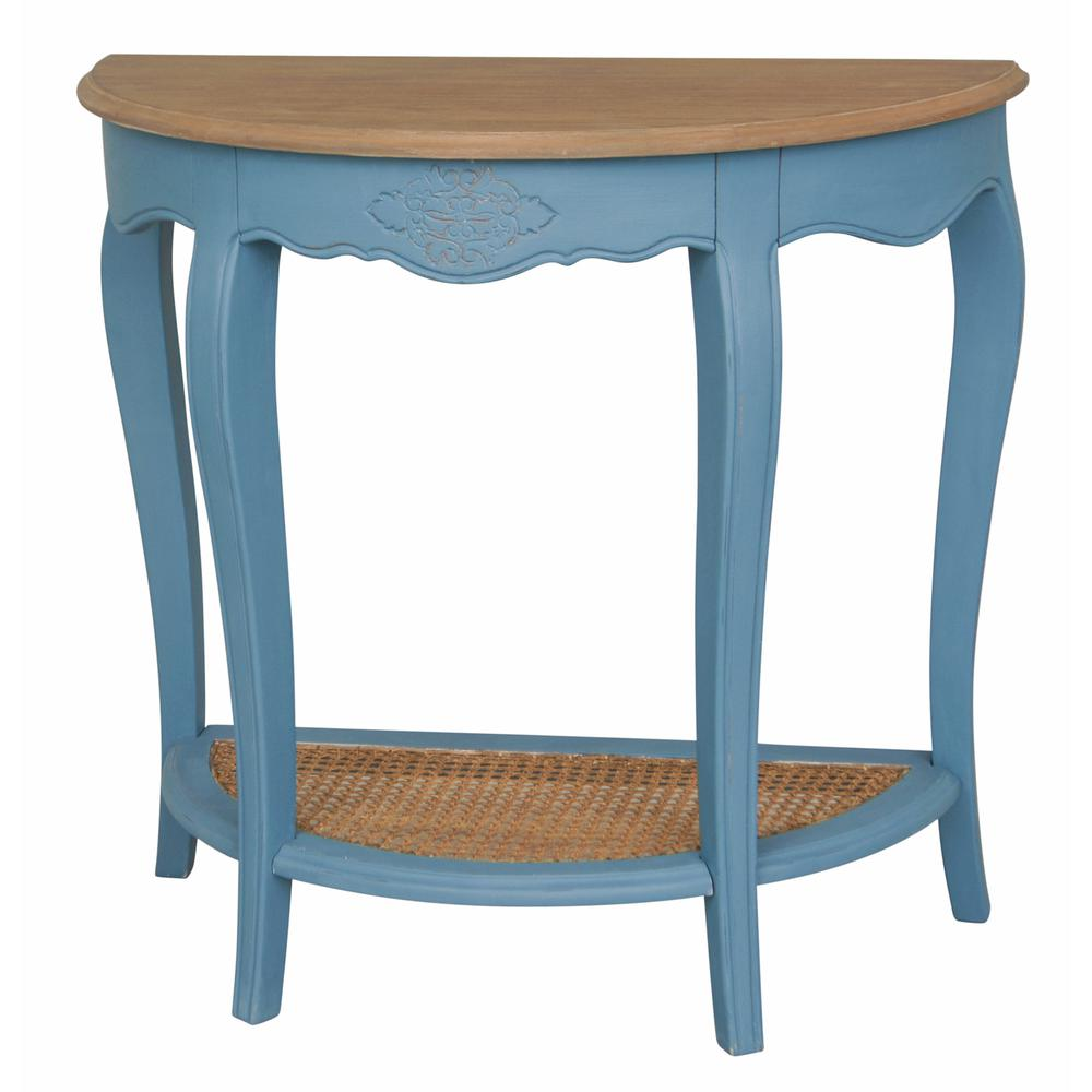 blue accent tables living room furniture the antique console str half moon table ashbury stradivarius natural oak veneer and chairs with tablecloth for foot wall clocks target