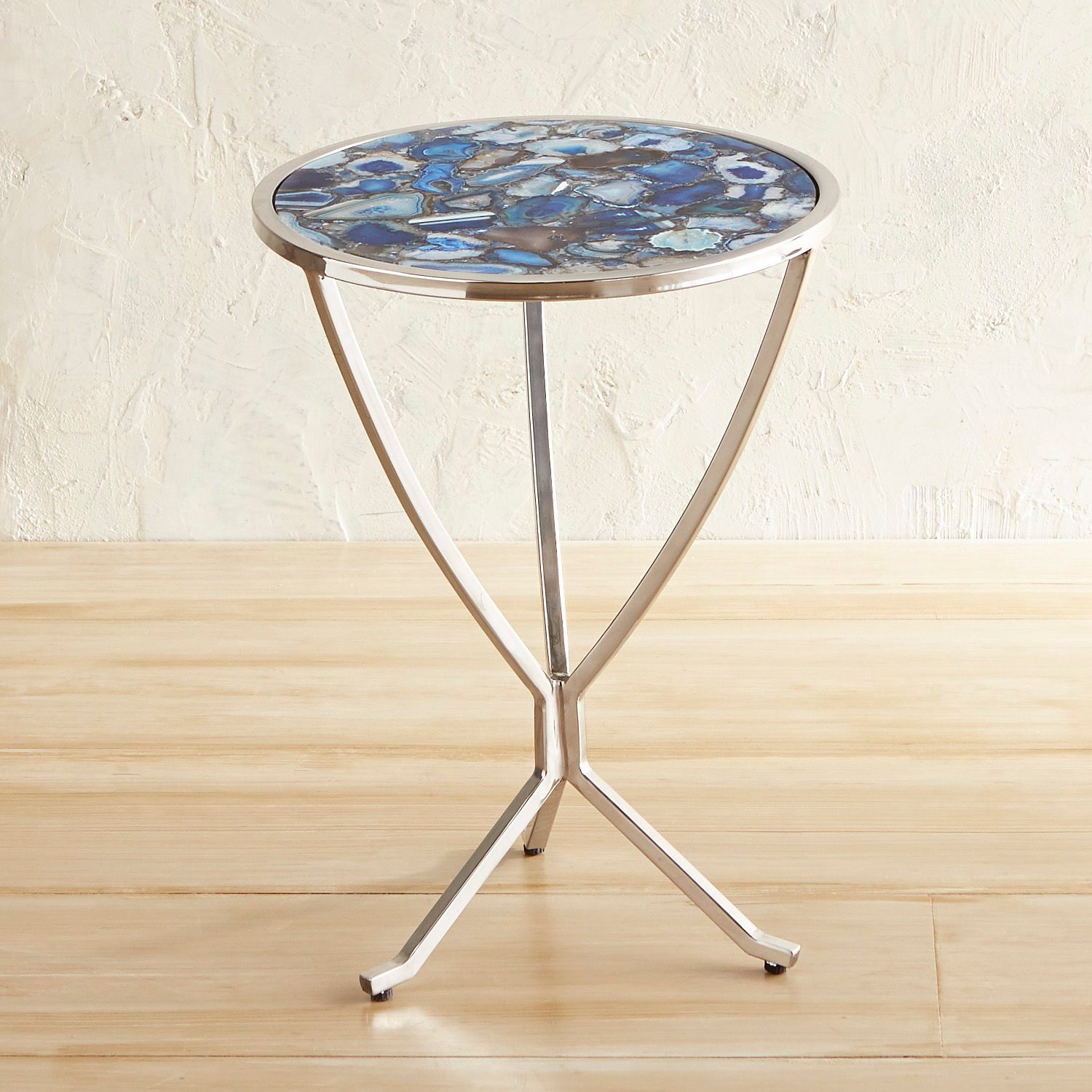 blue agate accent table pier imports glass bedding storage cast aluminum end kitchen cupboards animal print chair square clear coffee victorian side wardrobe furniture designer