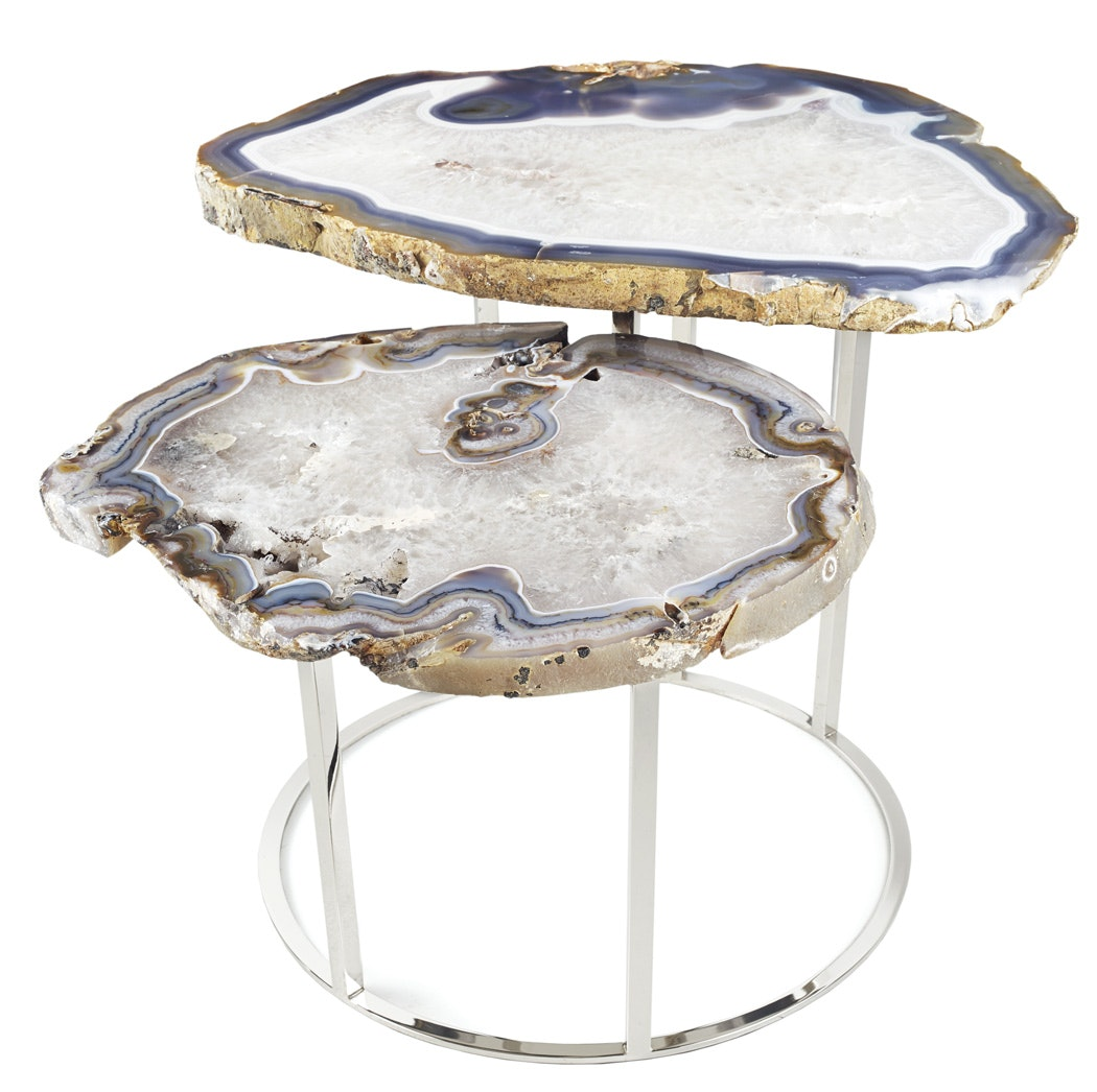 blue agate end side accent table iron frame mango wood quinn two tier coffee contemporary small round white marble dining room set one drawer quilt runner patterns sun garden