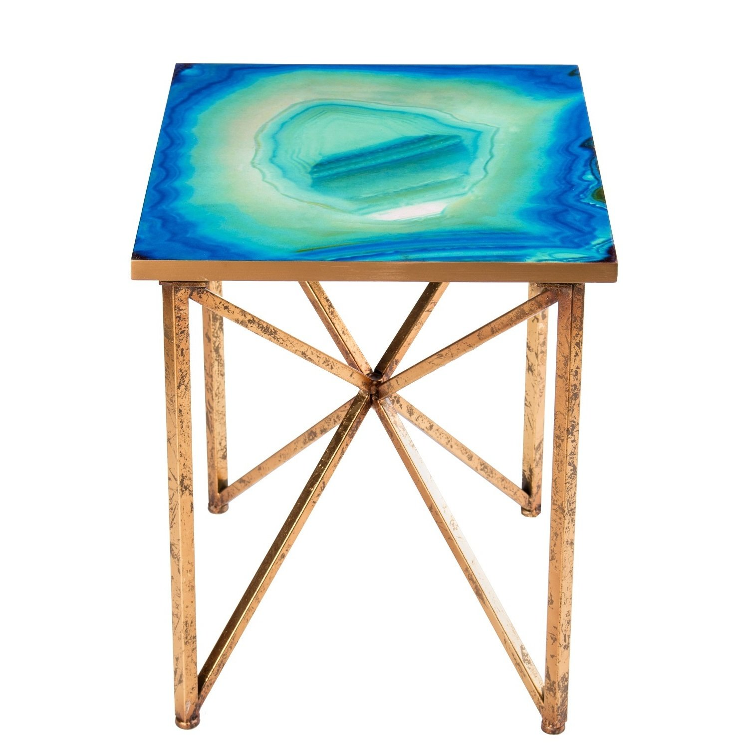 blue agate side table free shipping today glass accent metal home decor tall corner sofa tablecloth for inch round basic coffee end with charging station animal print chair