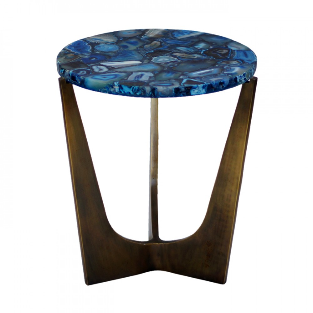 blue agate side table round with superiorly finished iron legs glass accent wood nesting tables small dark telephone decorations gold coffee parsons end walnut designer and chairs