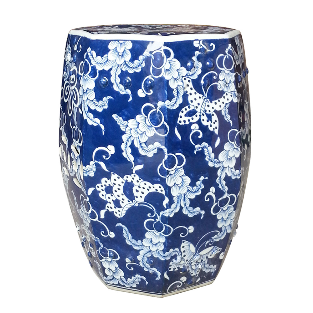 blue and white butterfly hexagonal garden stool stools accent table round farmhouse dining dark mango wood furniture home goods wall mirrors chest coffee moroccan dale lamps foyer