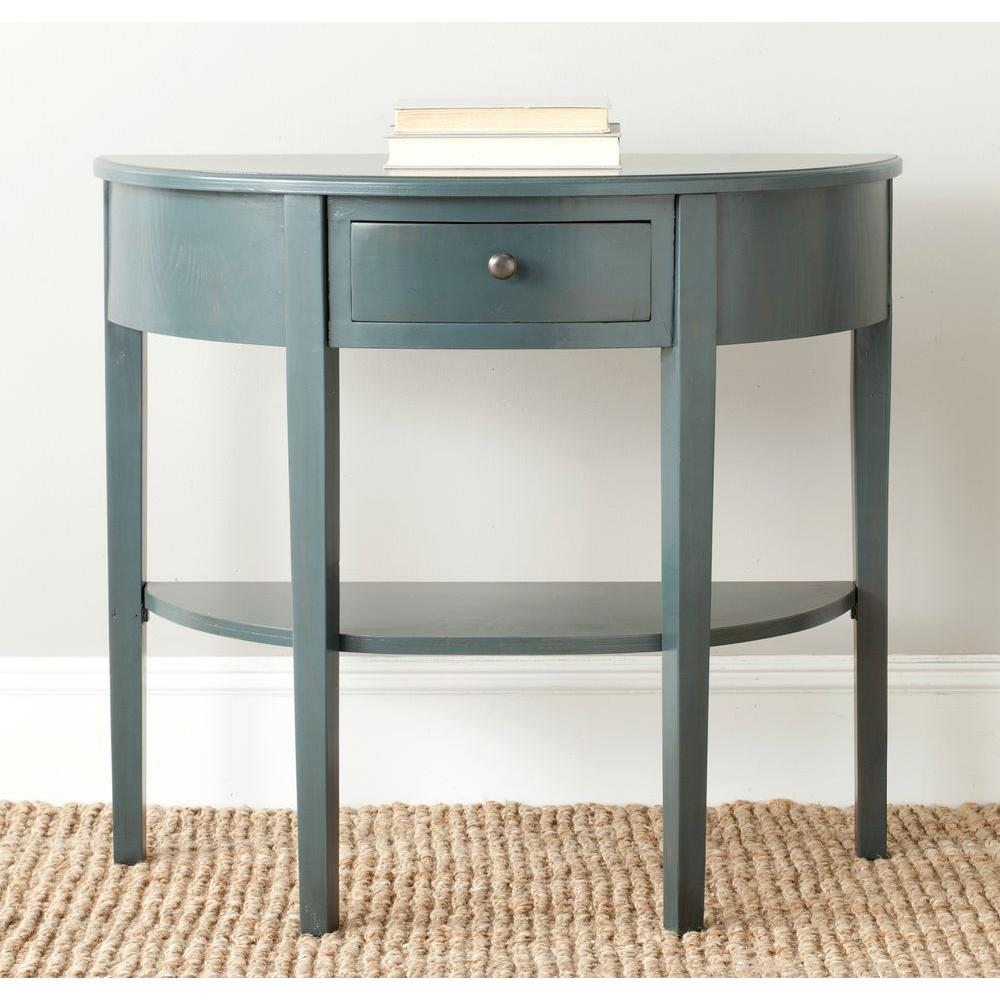 blue console tables accent the steel teal safavieh light oak abram storage table patio winter cover living room furniture coffee round glass lamp concrete set mid century modern