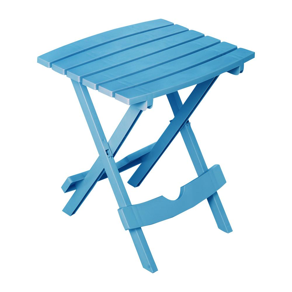blue folding outdoor accent side table pool patio porch deck small adams manufacturing tables resin plastic console designs decorative items kitchen cupboards round bar height